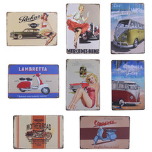 Vintage Metal Tin Sign Car and Motorcycle  Retro Plaque Poster Bar Pub Club Wall Tavern Garage Home Decor 8 Style 1pcs