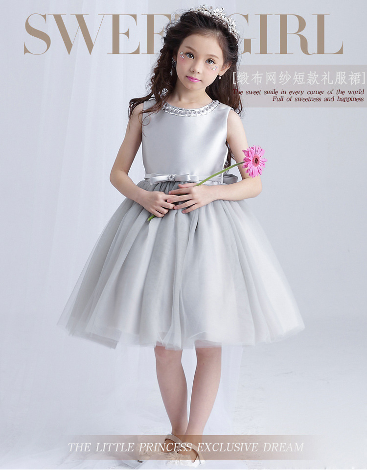Sweet Summer Girl Dress Silver Tulle Flower Girl Dress Wedding Dress Beaded Evening Party Dresses For Teenager Girl Clothes<br>
