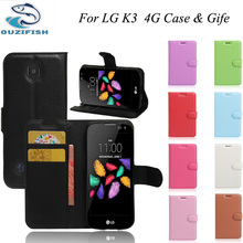 OUZIFISH Luxury Wallet Flip Leather Case For LG K3 /LTE 4G LS450 K100 K100DS back Cover Housing cases fundas+Card Slot+Stand