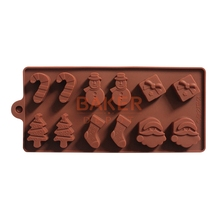 Silicone cake mold Christmas tree snowman socks styling chocolate molds ice cube tray SICM-008-20(China)