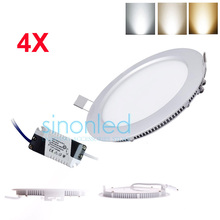 Wholesale 4 pcs SMD 2835 Round LED Recessed Ceiling Aluminum Panel Down Lights Warm/Natural/Cool White 3W/4W/6W/9W/12W 85-265V