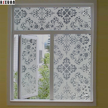 decorative window insulation film 45x100cm flowers frosted living room translucent static window stickers Hsxuan brand 450303
