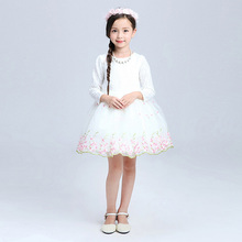 Teenage Girls Clothes White Pink Tutu Dress Long Sleeve Easter Dresses For Girls 10 Years  Lace Toddler Kids Princess Dresses
