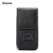 Soznoc Universal Leather Wallet Elephant Pattern Holster Bag Belt Pouch With Hook Card Slot Smaller Than 5.7 inches Waist Packs