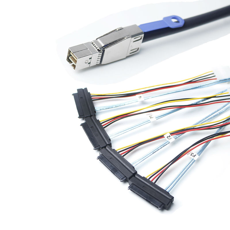 ULT-BEST Mini SAS HD (SFF-8644) to 4xSAS 29 Pin Female(SFF-8482) With 4 Pin Power Cable 1M<br>