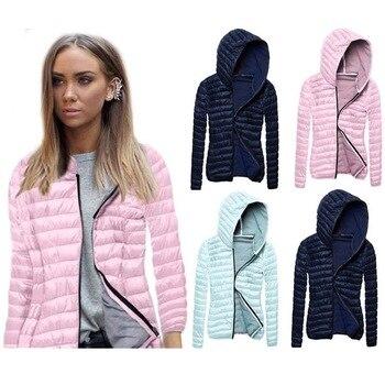 Winter Somen Slim Fit Jacket Zipper Parkas Thin Outerwear Solid Hooded Coats Short Female Slim Cotton Padded Basic Tops YF227
