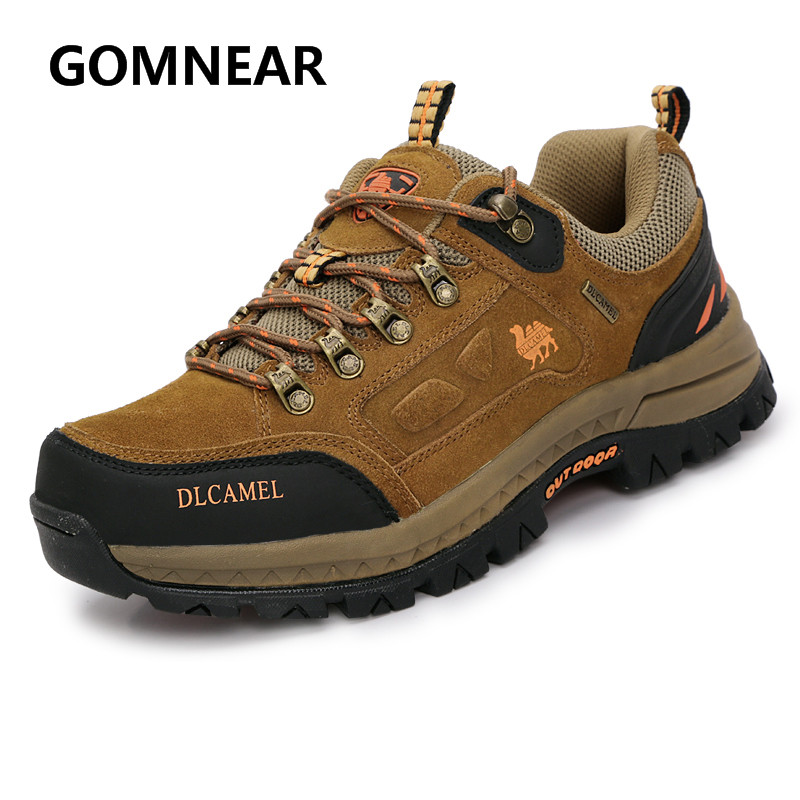 GOMNEAR Authentic Camel Genuine Leather Hiking Sneakers Outdoor Walking tourism  Fishing Breathable Shoes Male Big Size Boots <br>