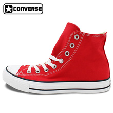 Custom Hand Painted RED Converse All Star Shoes High Top Canvas Sneakers Price Varies with Design(China)