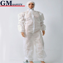 Non-woven Protective Clothing Dust Disposable One Piece Working Coveralls Breathable Membrane Chemical Protective Suit B81618-2