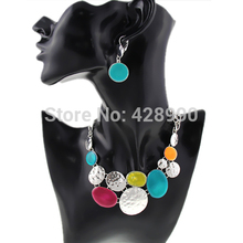2015 New Women Fashion Ethnic Colorful Resins Exaggerated Pendants Chunky Chains Statement Necklaces Jewelry