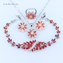 L&B Snowflake Wedding silver 925 Red created Garnet Jewelry Sets For Women Bracelet/Pendant/Necklace/Earrings/Ring