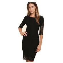 Vintage Evening Party Slim Dress Sexy O Neck Lace Top Long Sleeve Zipper Club wear Casual Pencil dress