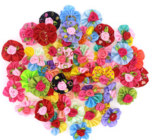 50pcs Pet Dog Puppy Cat Hair Bows with Rubber Rands Flower Rose Hair Bows Dog Grooming Pet Suppliers(China)