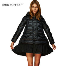 EMIR ROFFER Fashion Loose A Line Skirt Hooded Cloaks Coat Female Winter Women's Down Jacket Parka Large Size Camperas Outwear(China)