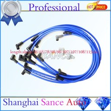 ISANCE Race Spark Plug Wire Cable Set Kit  9mm 73684 Ultra 40 Spiral Core 8.65mm Blue 90 HEI Degree  Silicone Over Valve Cover