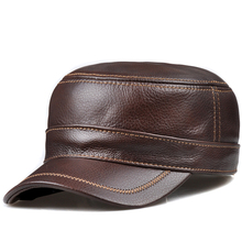 HL175 Men's genuine leather  baseball cap hat real cow skin leather hat brand new adjustable caps hats