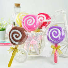 7pcs/lot Free Shipping Lollipop Design Baby Bridal Shower Towel Washcloth Wedding Party Decor Favor Rsp1T