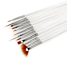 12Pcs/set  Nail Art Polish Painting Draw Pen Brush Tips Tools Set UV Gel Cosmetic Nail tools pinceis nail brush Wholesale White