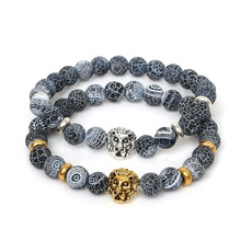 NiceBeads Lion Head Bracelet Buddha Beads Bracelets Bangles Natural Dream Fire Dragon Veins AgateStone Bracelet For Men Jewelry(China)