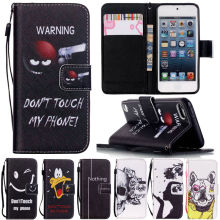 Touch 5 / 6 Art Print Leather Case For Apple iPod Touch6 6G 6TH Flip Clip Case Magnetic Luxury Wallet Cover Touch5 5G Stand Case