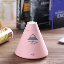 2017 New desktop volcano air humidifier air cleaner air purifier mist diffuser aroma machine with night light(China)