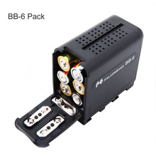 FALCON OLHOS BB-6 6 pcs AA Battery Case Pack Power como YN300 NP-F970 para Painéis de LED Vídeo Lâmpada Luz ou Monitor III, DV-160V(China)