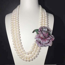 AA 8-9mm Freshwater Pearl Beads Shell Pearl Rose Flower Silver Plated Necklace 50cm