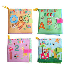 New Baby Washable Soft Cloth Book Toys Infant Kids Early Educational Rattle Toy Geometry/Letter/Number/Animal Learning Books