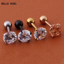 4ColorsGold Silver Black RoseGold Labret Lip Ring Zircon Anodized Internally Threaded Prong Gem Monroe Tragus Helix Ear Piercing