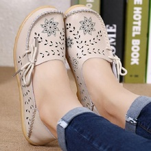 Women Flats Shoes Moccasins Mother Loafers Soft Casual Leather Ladies Shoes Flats Driving Women Leisure Footwear Shoes DTT679(China)