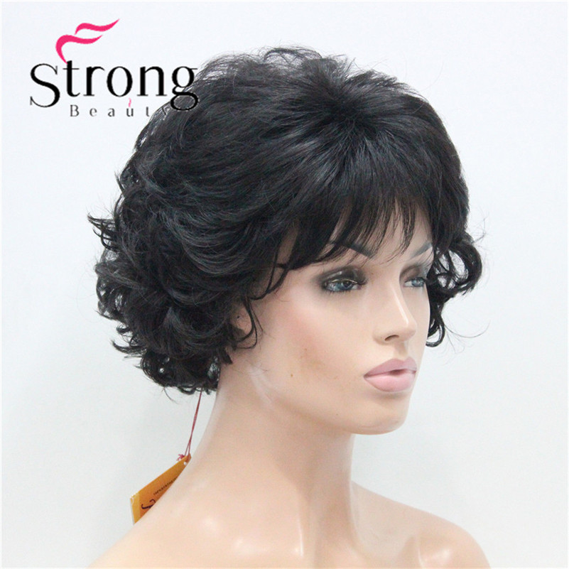 E-7125 #2New Wavy Curly Off Black Wig Short Synthetic Hair Full Women's Wigs For Everyday (2)