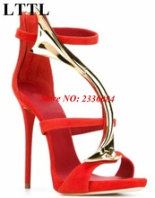 New Coming! Sexy Red Sandals Metal Decoration Gladiator Sandals Sandalias Zipper Back High Heel Stiletto Sandals Woman Shoes Hot