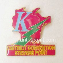 Customized letter emblem city of Hard Enamel convention red color lapel pin Badges Epoxy Coated High Quality 1''  OEM/ODM
