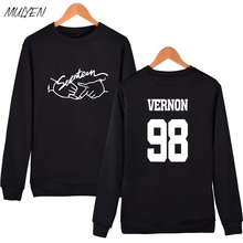 MULYEN Kpop Seventeen Hoodies For Women Fashion Member Name Print O Neck Fleece Sweatshirt Women Pullover Hoodie Sudaderas