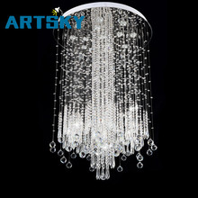 Modern Minimalist LED Vanity Long Stair Crystal Chandelier Light Fixture for Living Room Large Luxury Hotel Hall Foyer Lamp