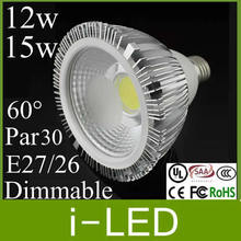 Noble Style 12w 15w Cob Par30 Led Bulbs Lamps E27 E26 Dimmable Led Spotlight AC85-265v Nature White 4500k 3 Years Warranty CE(China)