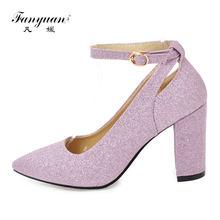 Fanyuan Ankle Strap Heels Women Pumps Sexy Glitter High Heels Shoes Woman  Chunky Pointed Toe Club Party Shoes Gold Silver Purple 58a93d46e13b