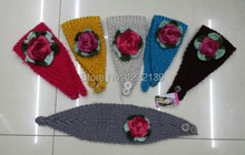 Handmade Knit Winter Soft Warm Headband Colorful Crochet Flower Headwrap Hairband Ear Warmer For Women Mix Colors 50PCS/LOT