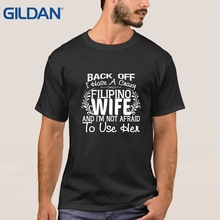 tee shirt FILIPINO WIFE PHILIPPINES FLAG SLOGAN JOKE t shirt Movie Hip-Tope black for men shirts 100% cotton Short Sleeves(China)
