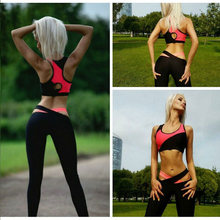 New Women Yoga 2 Piece Set Sports Bra Tops + Skinny Long Pants Fitness Slim Tracksuit Gym Running Suit B2C Shop(China)