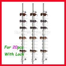 ST020L hold for 20pcs aluminium sunglasses eyeglass display rod rack, with lock(China)