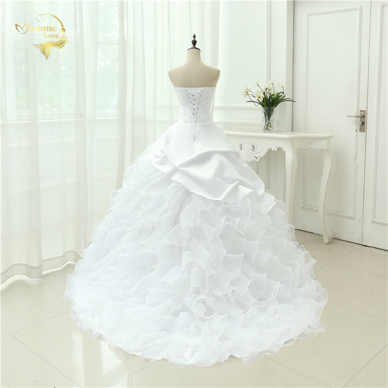 Classic Style Vestidos De Noiva A Line Robe De Mariage Strapless Applique Bridal Gown Wedding Dress 2018 Chapel Train YN0120 3