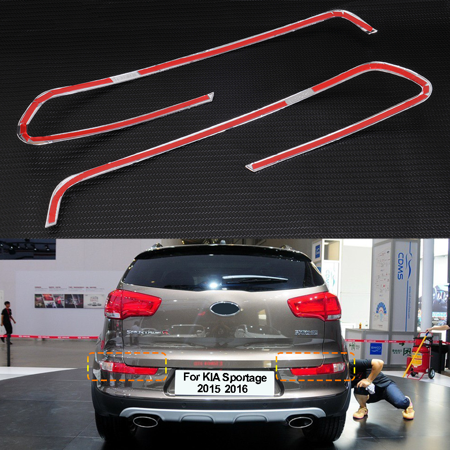 2Free shipping For 2010 2011 2012 Kia Sportage r ABS Chrome Front Tail Light Lamp Cover Trim 2PcsSet