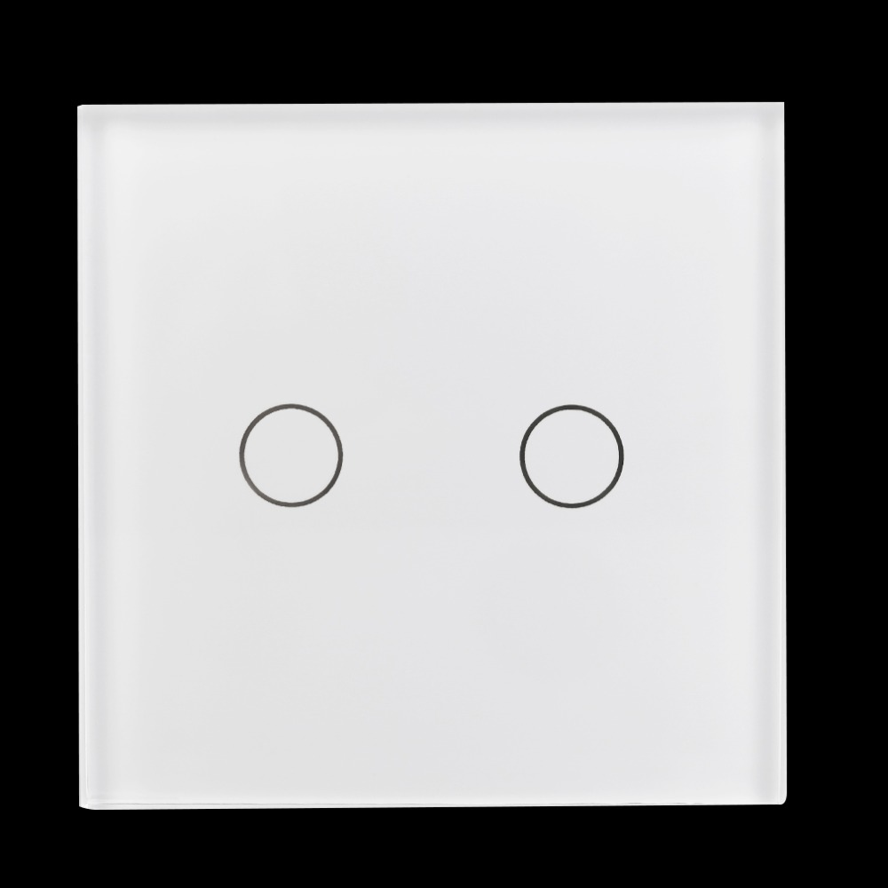 New arrived New White 90V~250V Crystal Glass Panel Touch Light 2 Gang Wall Switch free shipping<br><br>Aliexpress