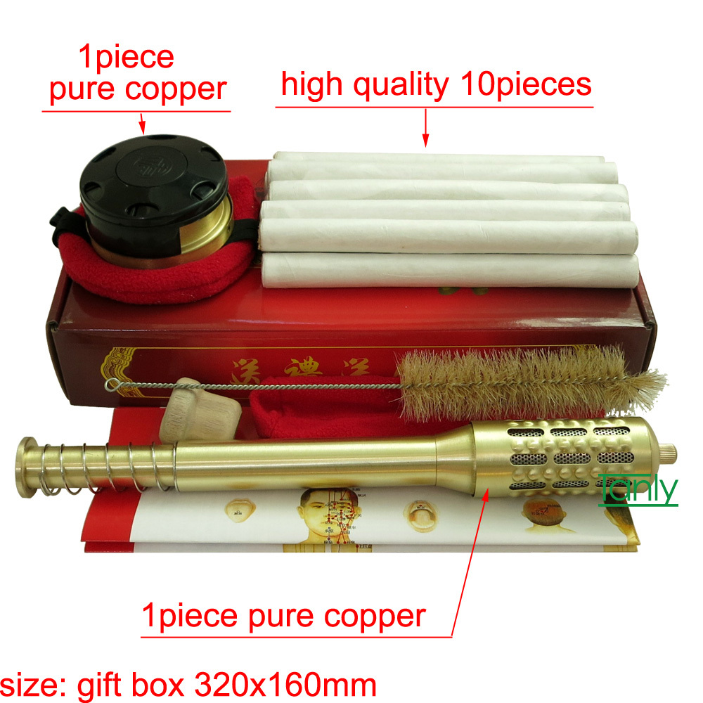 New! Pure Copper Big Size Body Moxibustion sticks Moxa box with high quality mugwort stick<br><br>Aliexpress