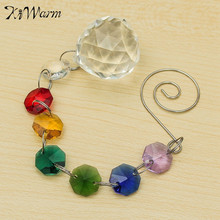 KiWarm Colorful Rainbow Handmade Suncatcher Crystal Ball Window Curtain Crystal Pendant For Home Wedding Christmas Hanging Decor
