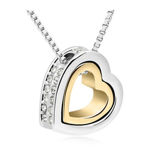Heart Rhinestone Fashion Necklaces For Women 2017 Gold And Silver Jewelry Crystal Pendant Necklaces Ladies Jewerly Accessories(China)
