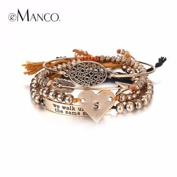 EManco Élégant Simple Creux Ovale Coeur Multicouches Charmes Bracelets et Bracelets pour les Femmes Perles Or Antique Plaqué Marque Bijoux