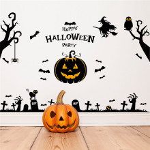 Gothic Hallowmas Pumpkin Bats wall sticker decal Devil Monster Witch Flying Happy Halloween window sticker showcase decal sale(China)