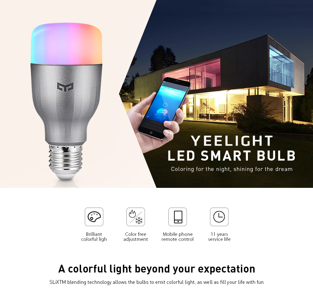 Yeelight YLDP02YL RGBW Smart LED Bulb WiFi Enabled 16 Million Colors CCT Adjustment Support Google Home